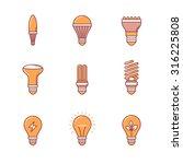 Light Bulb Icons Thin Line Set. ...