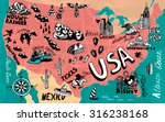 illustrated map of usa | Shutterstock .eps vector #316238168