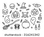 halloween hand drawn doodle set ... | Shutterstock .eps vector #316241342