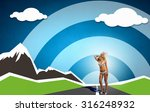 young hot woman in hat and... | Shutterstock . vector #316248932