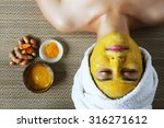 the mask with turmeric in spa... | Shutterstock . vector #316271612