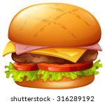 meat burger on white...