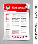 minimalist cv on paper sheet... | Shutterstock .eps vector #316290788