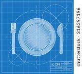 vector blueprint fork plate... | Shutterstock .eps vector #316297196