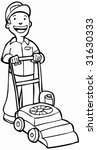 lawnmower gardener line art | Shutterstock .eps vector #31630333
