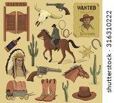 hand drawn wild west icons set...   Shutterstock . vector #316310222
