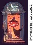 happy halloween card ... | Shutterstock .eps vector #316322822