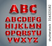 shiny red font. alphabet design.... | Shutterstock .eps vector #316323182