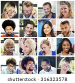 collage diverse faces group... | Shutterstock . vector #316323578