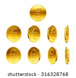 gold coins with euro sign... | Shutterstock . vector #316328768