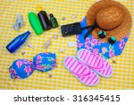 beach time summer travel kit...   Shutterstock . vector #316345415