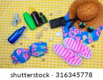 beach time summer travel kit... | Shutterstock . vector #316345778