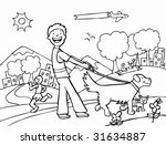 Stock vector dog walker park line art 31634887