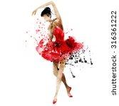 dancing ballerina  watercolor... | Shutterstock . vector #316361222