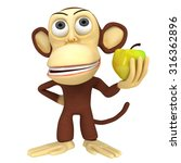 3d funny monkey with yellow... | Shutterstock . vector #316362896