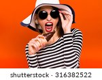 funny young girl  wearing in... | Shutterstock . vector #316382522