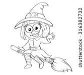 halloween witch flying on broom.... | Shutterstock .eps vector #316382732