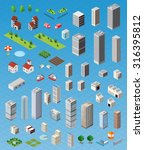 isometric city map road  trees... | Shutterstock . vector #316395812
