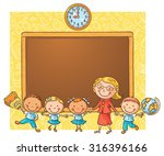 happy schoolkids with their... | Shutterstock .eps vector #316396166