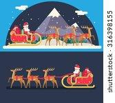 Santa Claus Sleigh Reindeer...