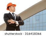 architect standing on site with ... | Shutterstock . vector #316418366