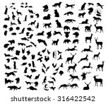Stock vector the big set of forest vector animals silhouettes the big collection of wild animals 316422542