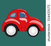 flat. simple cartoon red car... | Shutterstock . vector #316423172
