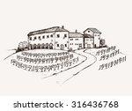 vineyard estate hand drawn... | Shutterstock .eps vector #316436768