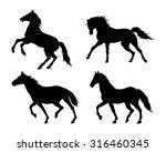 Running Horse. Set Of Black...