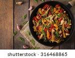 stir fry chicken  sweet peppers ... | Shutterstock . vector #316468865