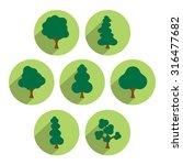 Tree Icon Set. Simply Circle...
