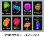 halloween cards. made with ink. ... | Shutterstock .eps vector #316483016