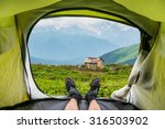 view from inside a tent on the... | Shutterstock . vector #316503902