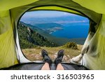 view from inside a tent on a... | Shutterstock . vector #316503965
