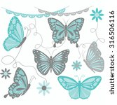 aqua and grey butterfly... | Shutterstock .eps vector #316506116