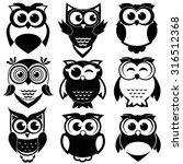 Stock vector cute black and white owls set 316512368