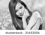 Young woman portrait. Black and white. - stock photo