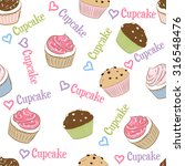 seamless pattern with cupcakes. | Shutterstock .eps vector #316548476