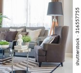 modern living room with brown... | Shutterstock . vector #316557755