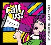 pop art woman with megaphone. ... | Shutterstock .eps vector #316579385