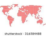 simple digital world map of dots | Shutterstock . vector #316584488