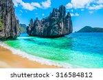 Tropical Beach And Mountain...