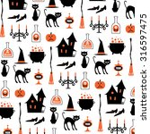 halloween witch pattern on white | Shutterstock .eps vector #316597475