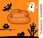 haunted house  pumpkins  owl ... | Shutterstock . vector #316600085