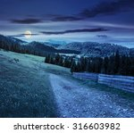 composite landscape with fence near the path through meadow up the hillside to coniferous forest  on the mountain at night in full moon light - stock photo