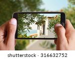 male hand taking photo of... | Shutterstock . vector #316632752