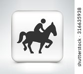 Stock vector man on a horse on white square button 316635938