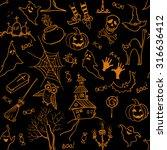 seamless halloween pattern with ...   Shutterstock .eps vector #316636412