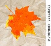 bright orange watercolor autumn ...   Shutterstock . vector #316636538