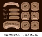 set of the butchery logos or... | Shutterstock .eps vector #316645256